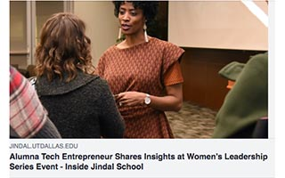 Link UT Dallas Article Courtney Caldwell Alumna Tech Entrepreneur Shares Insights at Womens Leadership Series Event