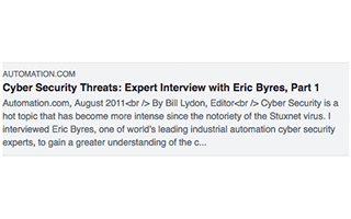 Link Automation Article Eric Byres Interview Part 1
