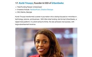 Kunbi Tinuoye Article Crunchbase 25 Black Entrepreneurs Making Waves