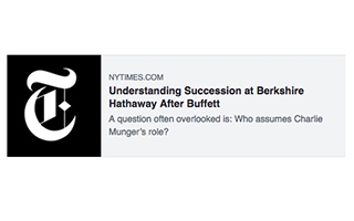 Link New York Times Lawrence Cunningham Understanding Succession at Berkshire Hathaway