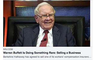 Link The Wall Street Journal Warren Buffett is Doing Something Rare Selling A Business