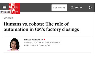 Link The Global and Mail Article Linda Nazareth Humans vs Robots