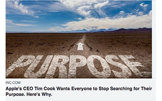 Link INC Magazine Article Mandy Antoniacci Apple CEO Tim Cook Wants Everyone to Stop Searching for Their Purpose