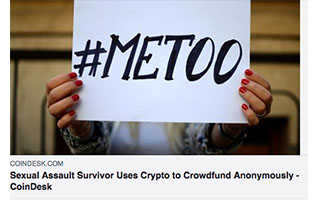 Link Coindesk Article Rachel Cook Sexual Assault Survivor Uses Crypto to Crowdfund Anonymously