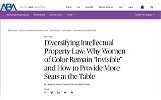 Tonya Evans Article ABA Diversity Intellectual Property Law